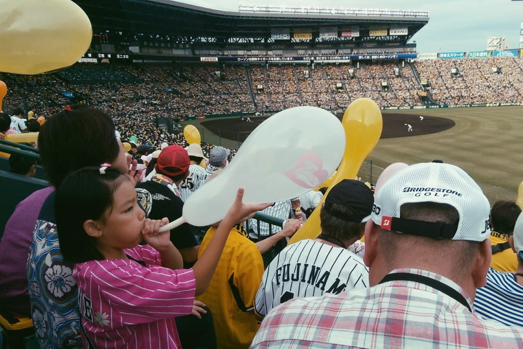 tigers baseball game at hanshin koshien stadium in osaka